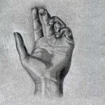 Mano dibujada a lápiz sobre papel con base de carboncillo por Anna Garrido