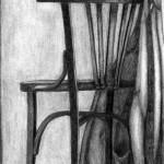 Silla dibujada con lápiz de grafito por Julia Sánchez Montéis