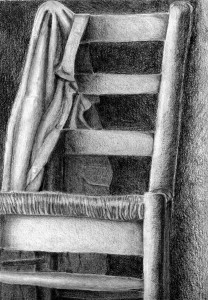 Silla dibujada con lápiz de grafito por Miriam Sierra