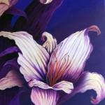 Flor pintada con acrílico sobre tela por Pedro