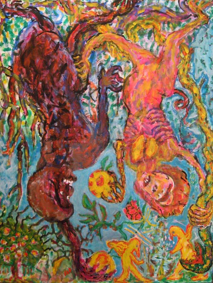 Adán, Eva y la serpiente en el árbol del Bien y del Mal