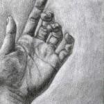Mano dibujada a lápiz sobre papel con base de carboncillo por Jane Brown