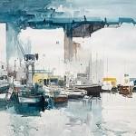 """Barques al moll"" acuarela de J. Martínez Lozano"