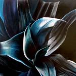Flor pintada con acrílico sobre tela por Isabel