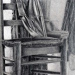 Silla dibujada con lápiz de grafito por Fede Fábregas
