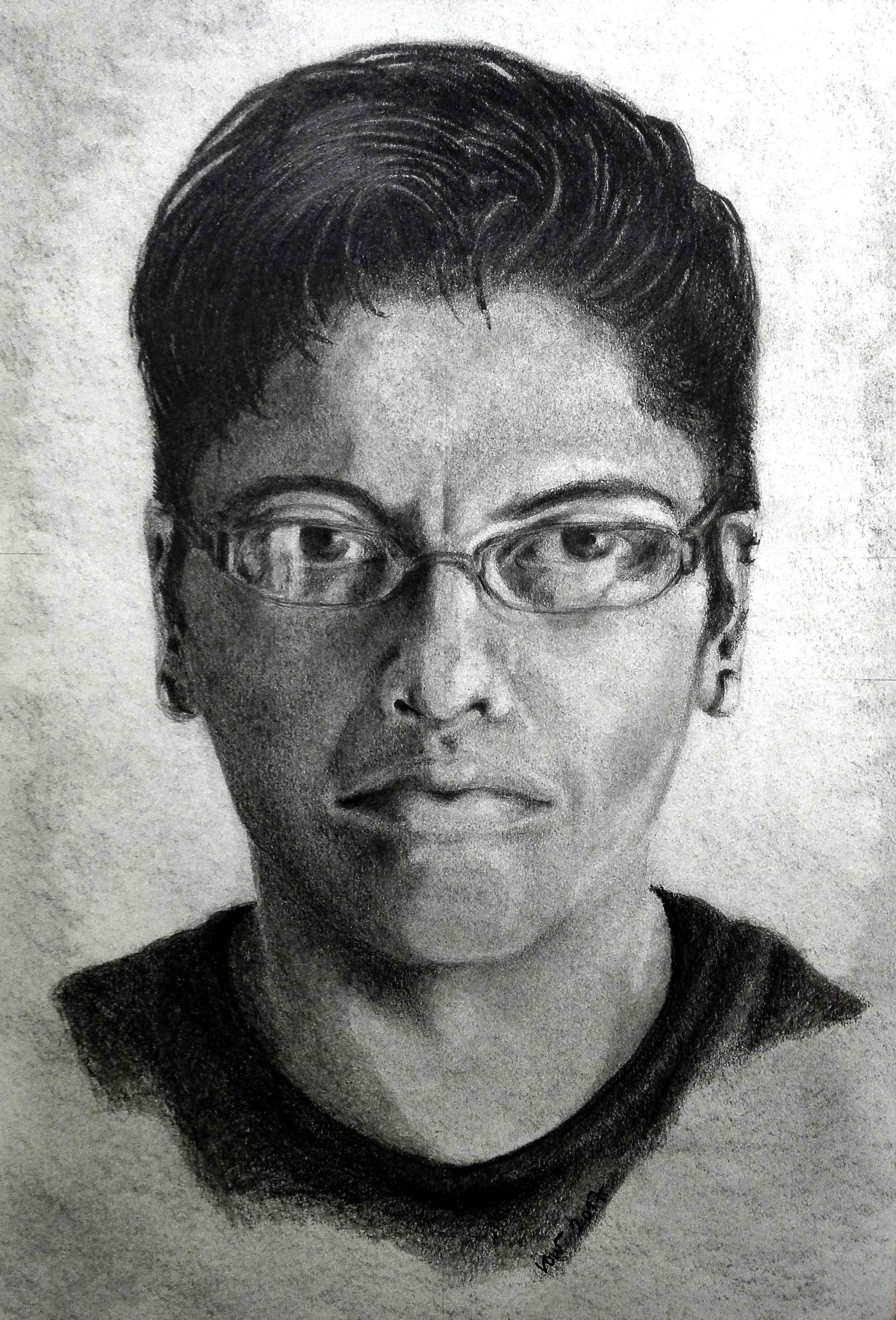 Retrato de Guadalupe por Lorena (lápiz)